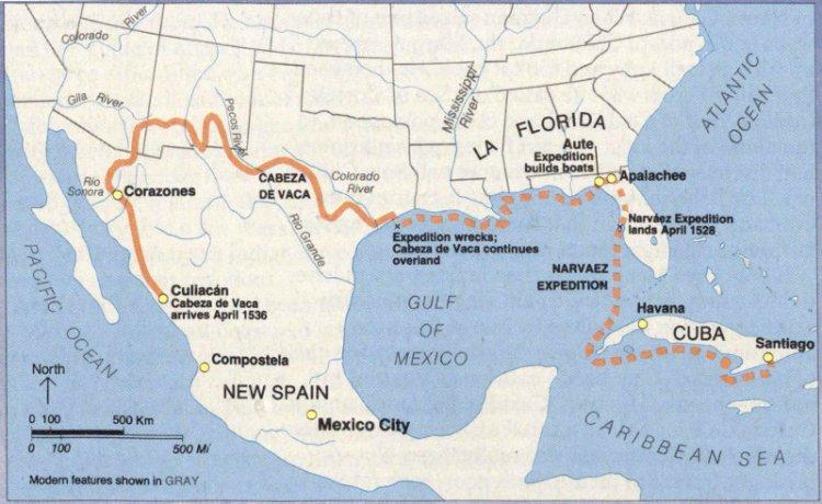 A map of Cabeza de Vaca's travels