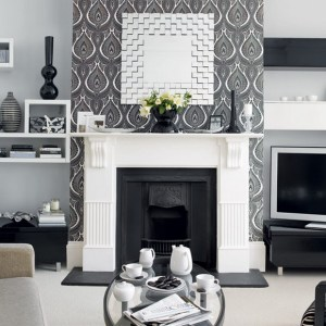 living rooms traditional theme designs digsdigs interiors wall modern fireplace ll below cool paper dark sitting decor walls decorating silver