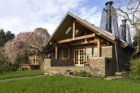 House With Natural Wood And Stone Interior And Exterior ...