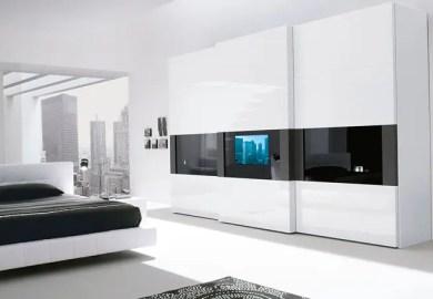 Super Modern Bedroom Wardrobe With A Tv Built In The Door