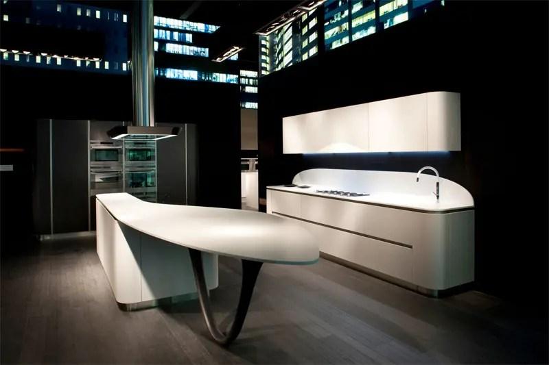 Futuristic Kitchen Design with Round Corners  Ola 20 by