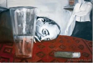 The Big Glass (AKA 'This Time Hubby Gets It'), Oil on canvas, 90x60cm, 2009,  John Vincent