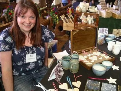 Jo Atherton and her pots at Stevenage Open Gardens day