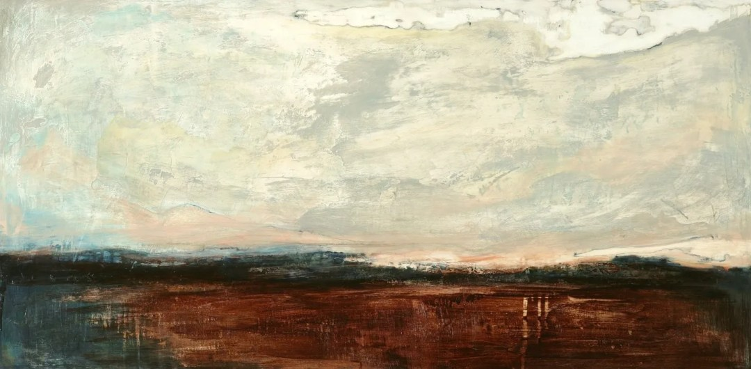 Land and Sky, 120 x 56cm ink and gesso on board 2015
