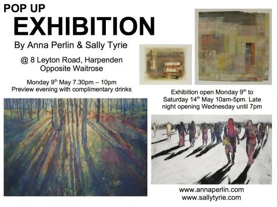 Anna Perlin and Sally Tyrie to exhibit work in a POP UP Gallery in Central Harpenden