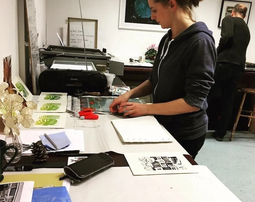Wonderful Prints produced in the Autumn themed Lino Cut workshop