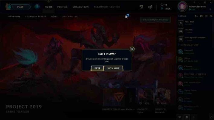 log out of League of legends