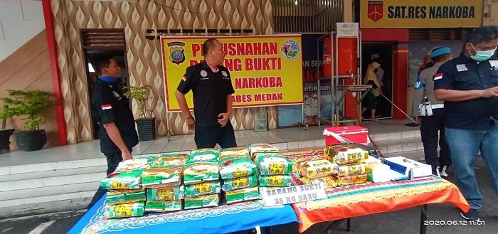 Polrestabes Medan Musnahkan 35 Kilogram Sabu-sabu