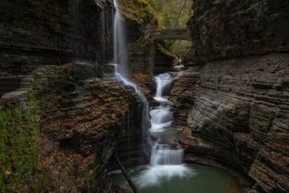 waterfall and stone bridge