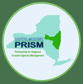 (PRISM) logo, new york state map,