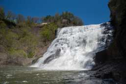 Ithaca Falls, New York state waterfalls, trees, blue sky