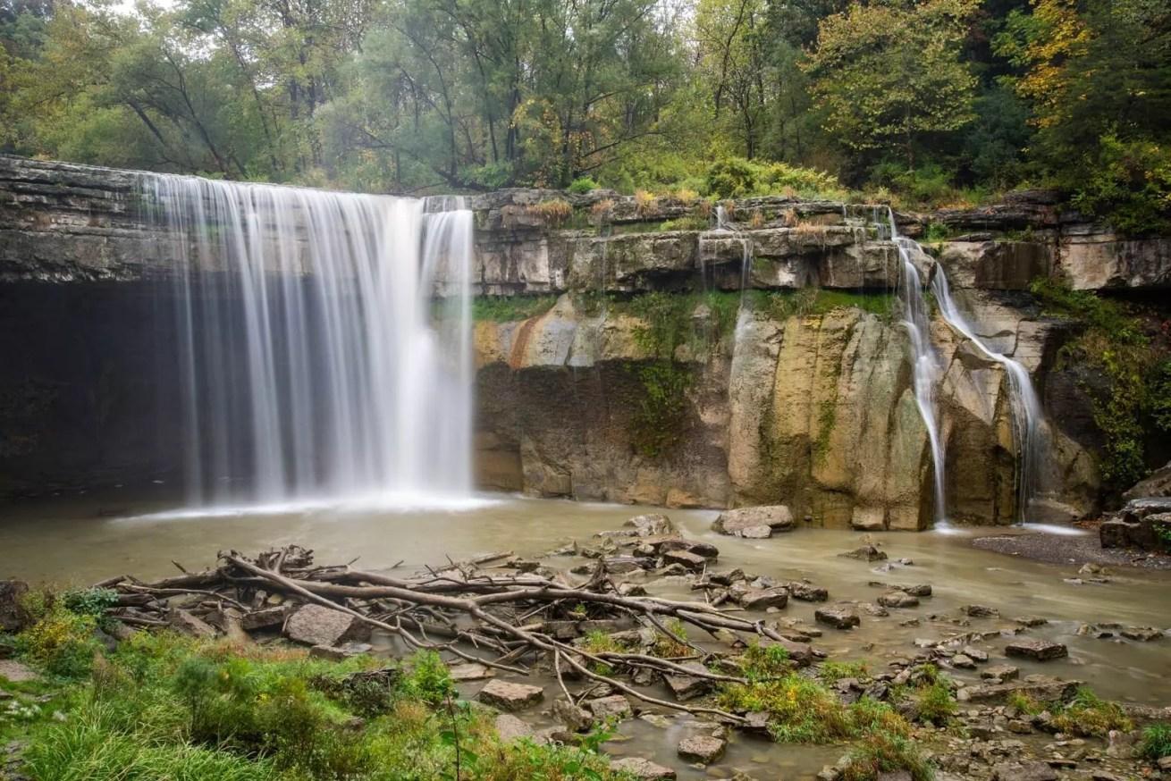 waterfall, rocks, trees