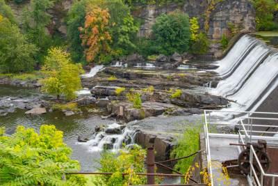 waterfall, tress, rock, dam