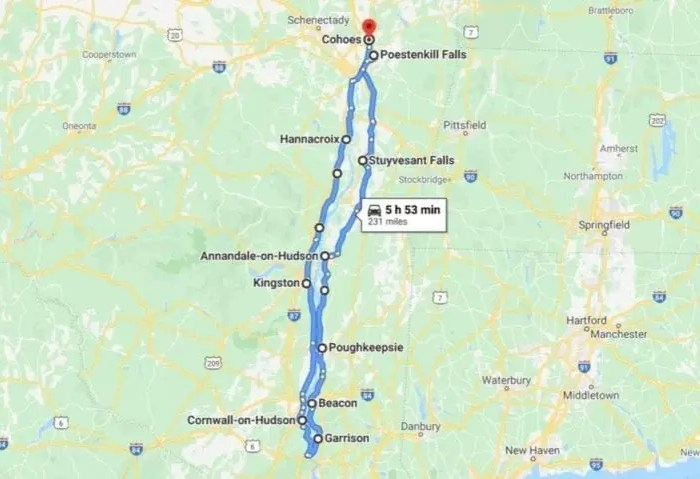 Hudson Valley Waterfall Roadtrip Map
