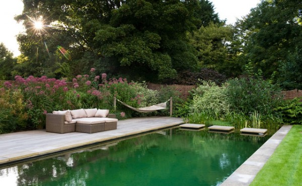 landscape designer, natural swimming pool, formal pool, man made pond, backyard water feature, garden design