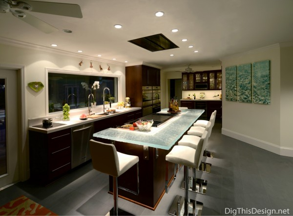 Perfectly lighted kitchen design by Patricia Davis Brown Designs.