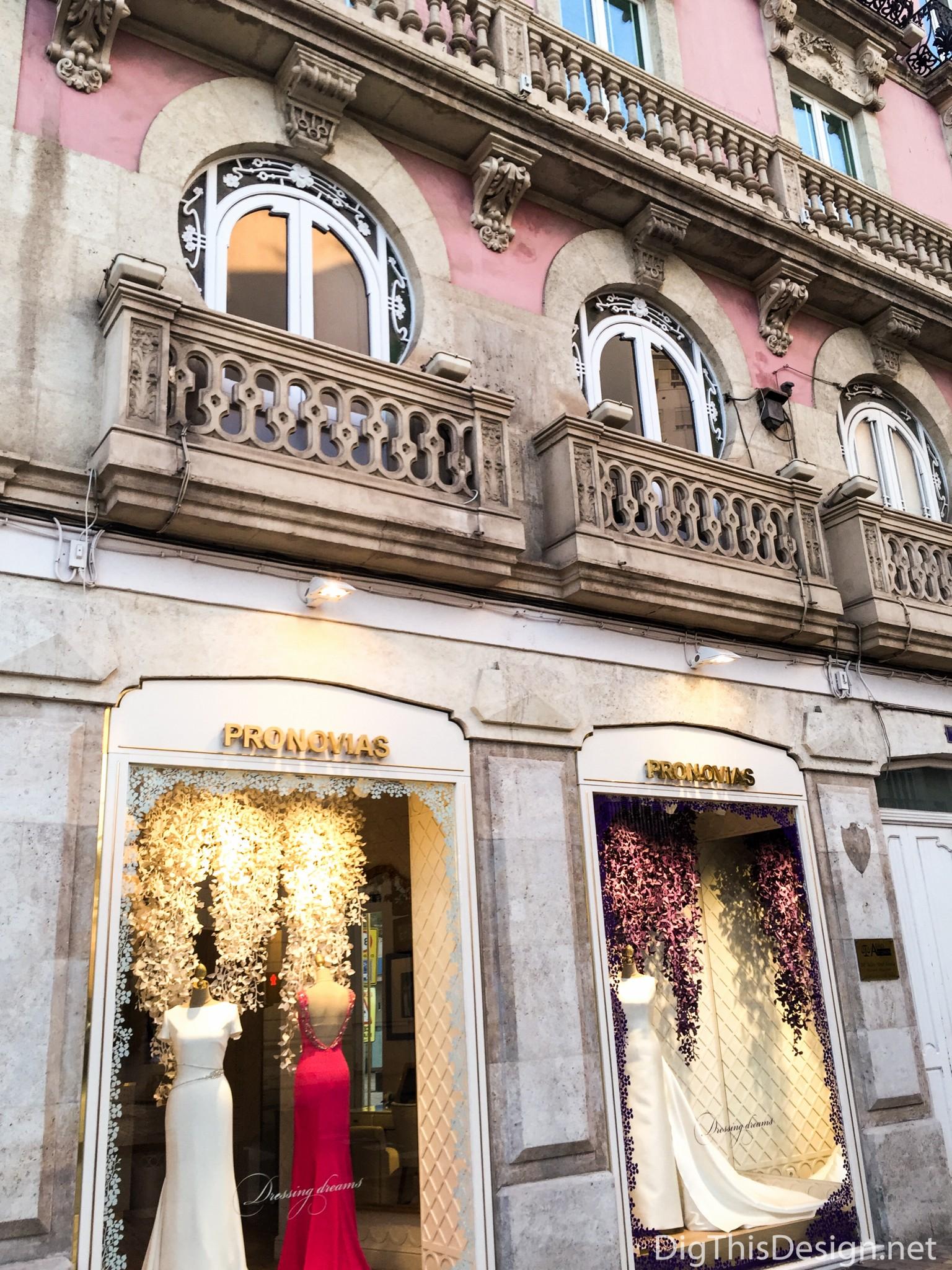 Almeria, Spain - In historic center a bridal store front.