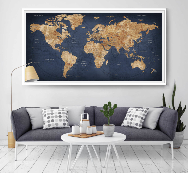 Apartment decorating world map in modern apartment