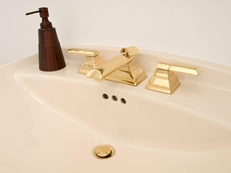 Bathroom renovation brass fixtures