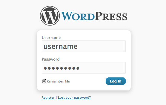 [ Screenshot: Default WordPress Login/Register Page ]