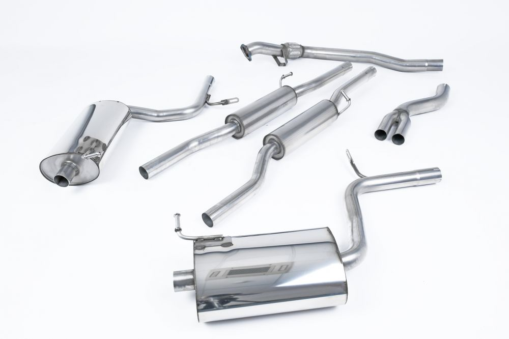 resonated cat back exhaust system for audi