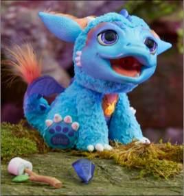 """A linha Fur Real Friends ganha um novo mascote: Dragão Torch. Ele solta um vaporzinho que """"tosta"""" o marshmallow."""