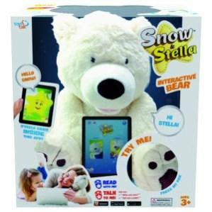 O urso Snow responde a perguntas feitas pela criança e interage com Stella - que mora no aplicativo para smartphone/tablet. Digital e fofura se conectam.