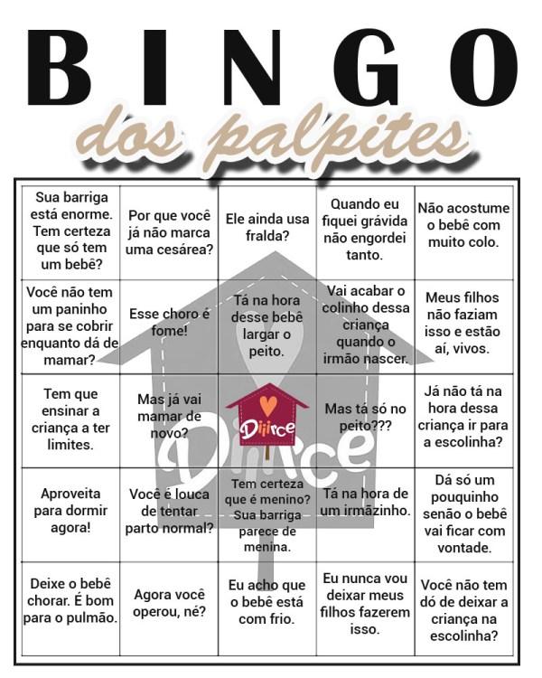 Bingo dos Palpites para mães