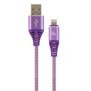 Punottu Lightning - USB kaapeli, 2.0 m, lila, Cablexpert