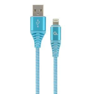 Punottu Lightning - USB kaapeli, 2.0 m, turkoosi, Cablexpert