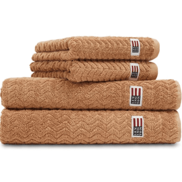 LEXINGTON Icons Cotton/ Lyocell Structured Terry Towel Caramel