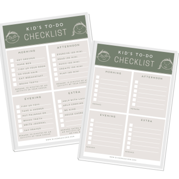 Kid's to-do checklist - a view of the printable.