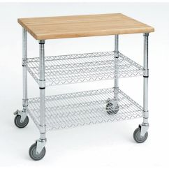 Stainless Kitchen Cart Pantry Furniture Expressly Hubert Steel With Solid Wood Top Wire 1 5post 38x26 Chrome