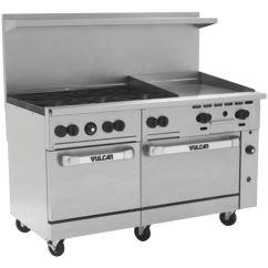 Vulcan Kitchen Table With Bench Seating Endurance Natural Gas Restaurant Range 6 Open Burners 24 Burner W Griddle Natur