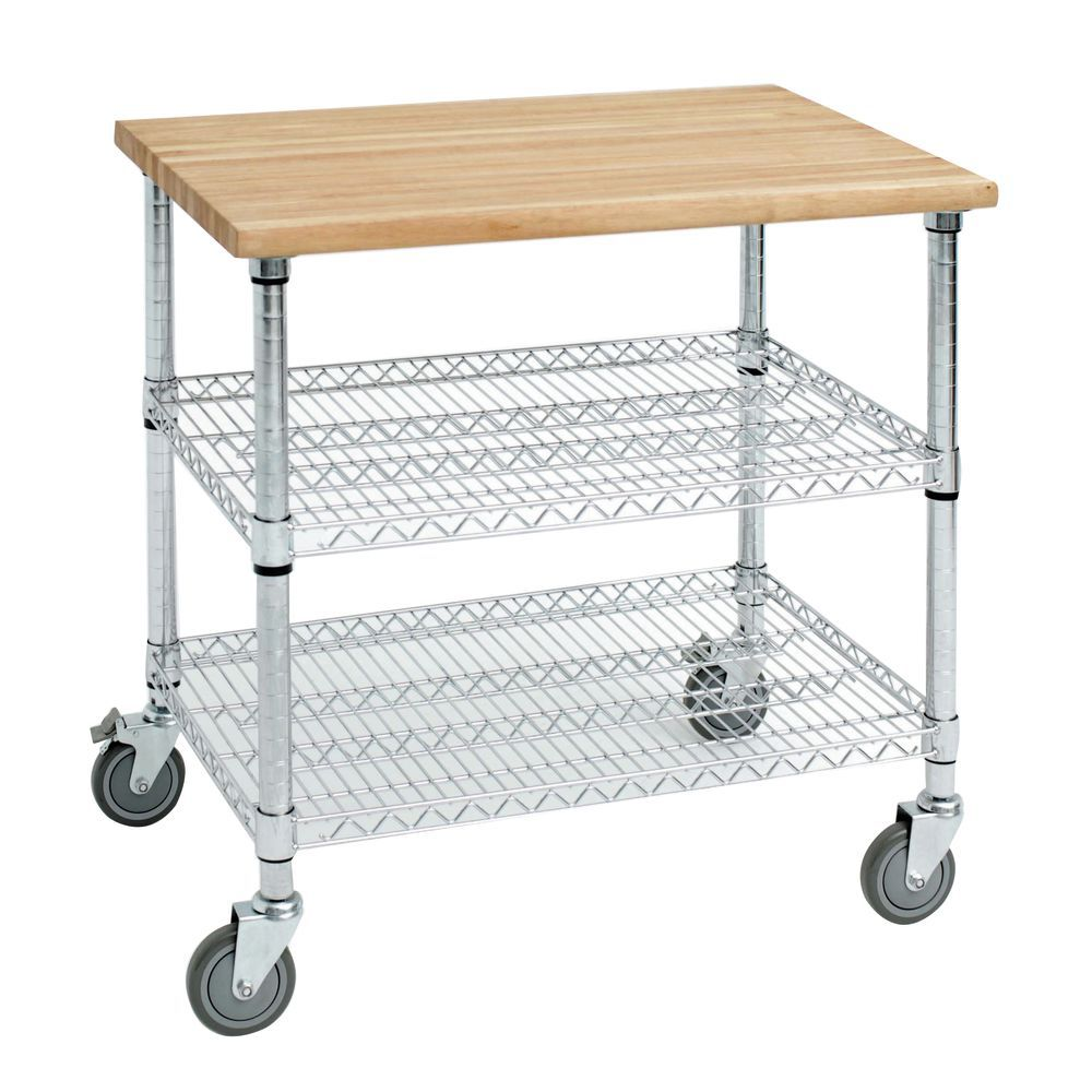 wire kitchen cart breakfast bar expressly hubert stainless steel with solid wood top 1 5post 50x26 chrome