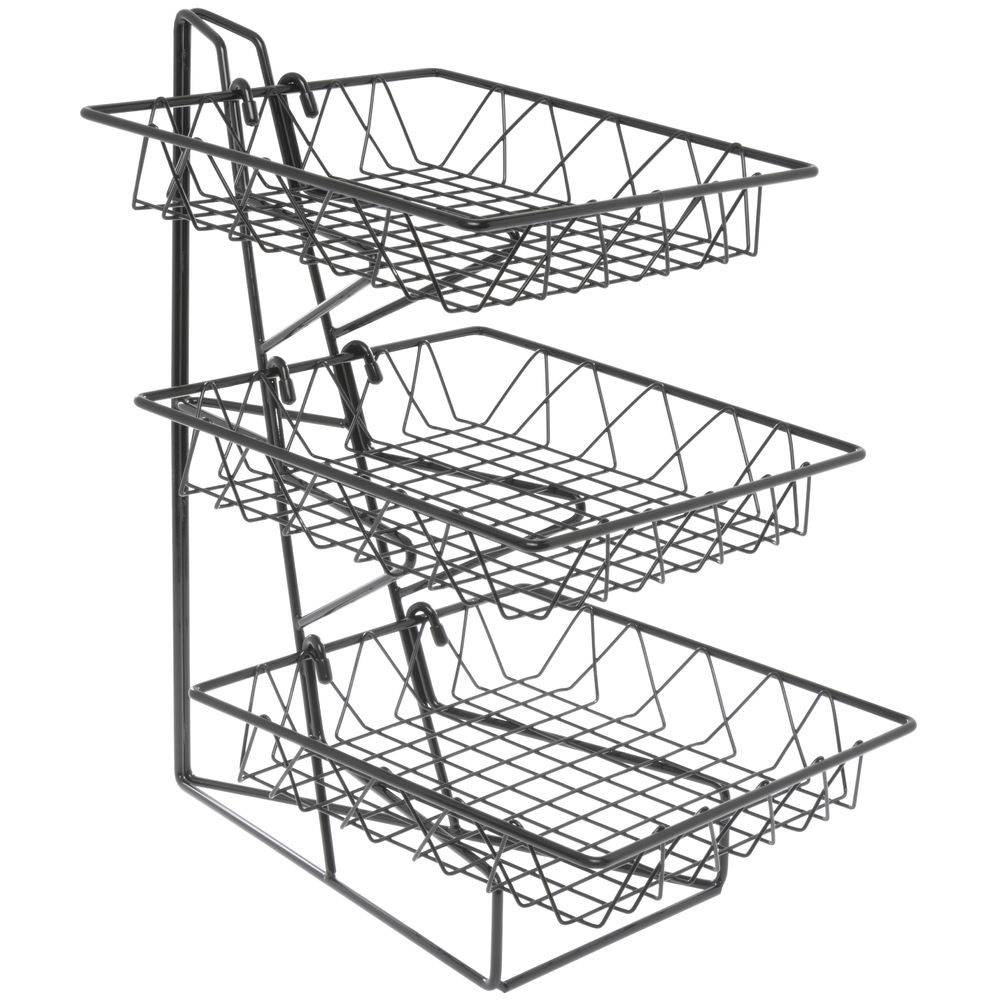 Cal-Mil Black Wire 3-Tier Countertop Basket Stand With 12