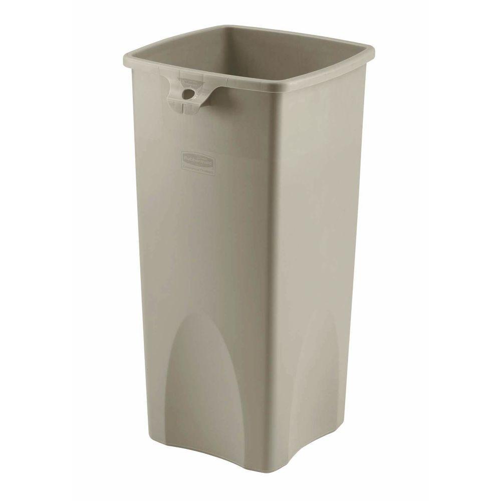 rubbermaid kitchen trash cans big sink 23 gal beige plastic untouchable receptacle base recept 23gal untouch square