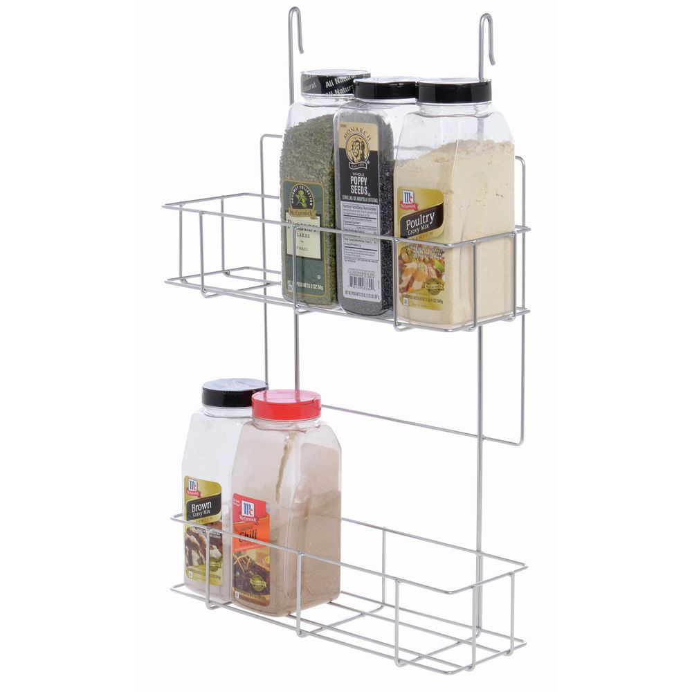 expressly hubert silver steel 2 tier commercial hanging spice rack 14 1 4 l x 5 w x 22 1 4 h