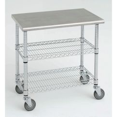 Stainless Steel Kitchen Cart 33x22 Sink Expressly Hubert With Solid Top 38l X Wire S 1 5post 38x24 Chrome