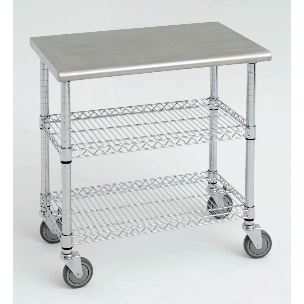 stainless kitchen cart fruit basket expressly hubert with solid steel top 38l x wire s 1 5post 38x24 chrome
