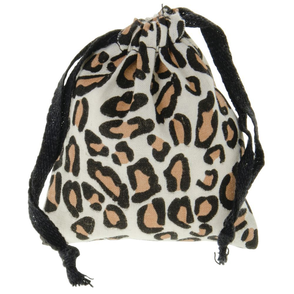 small leopard drawstring pouches