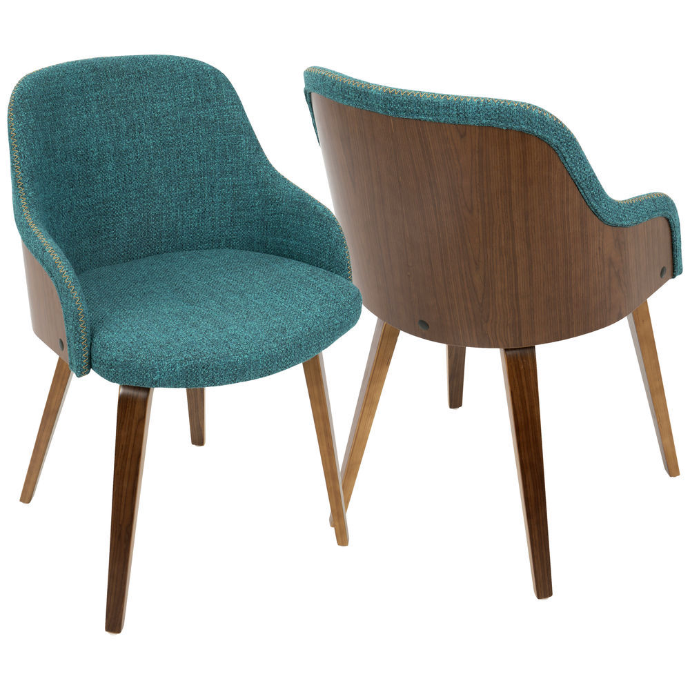 Mid Century Modern Accent Chair Lumisource Bacci Mid Century Modern Dining Accent Chair In Walnut Wood And Teal Fabric By Lumisource