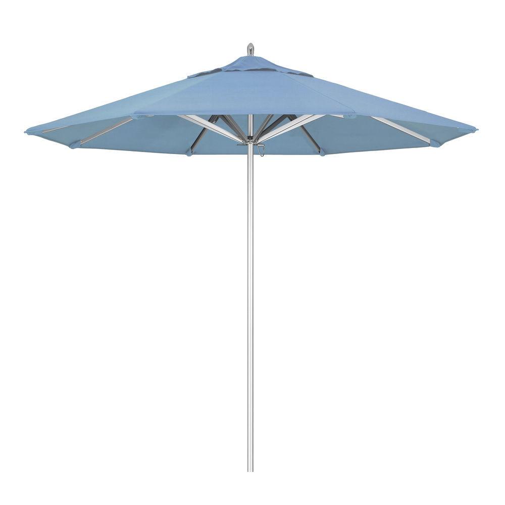 california umbrella 9 ft commercial grade patio umbrella silver frame sunbrella air blue fabric