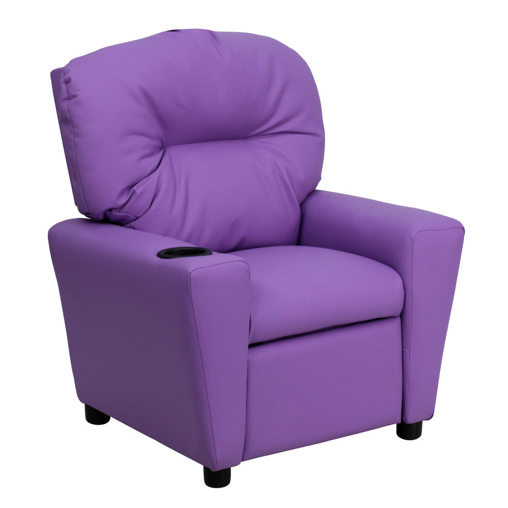 kids tv chair no sew bean bag flash furniture contemporary lavender vinyl recliner with cup 1