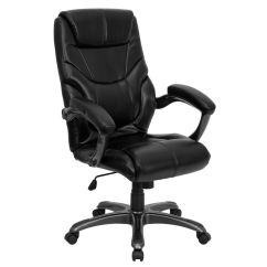 Black Leather Office Chair High Back Jack Flash Furniture Overstuffed Executive Swivel Savings Available