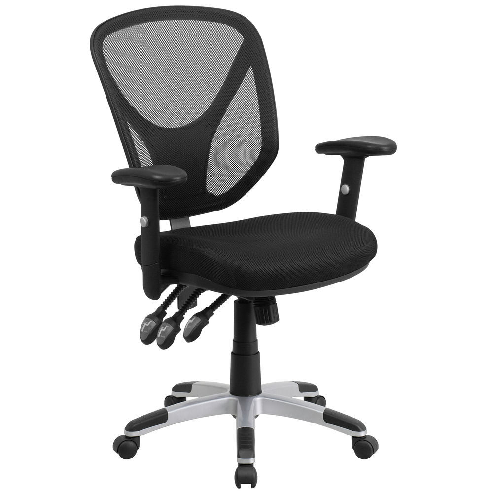 Task Chairs With Arms Flash Furniture Mid Back Black Mesh Multifunction Swivel Task Chair With Adjustable Arms