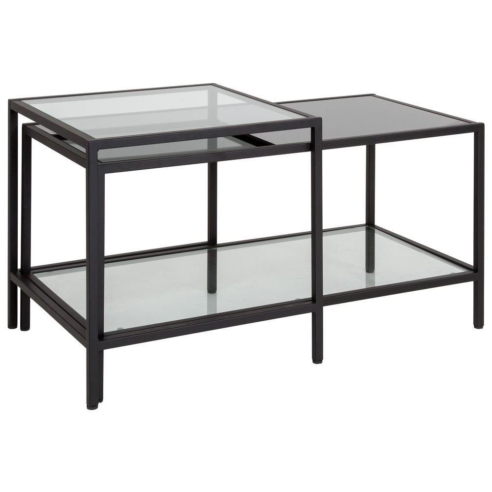 flash furniture westerly multi tiered glass coffee table with black metal frame
