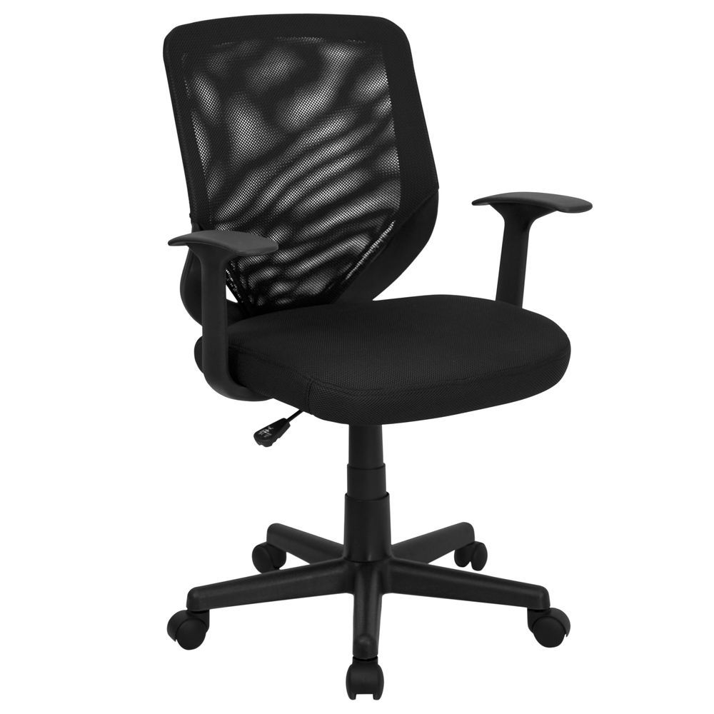 Task Chairs With Arms Flash Furniture Mid Back Black Mesh Tapered Back Swivel Task Chair With T Arms