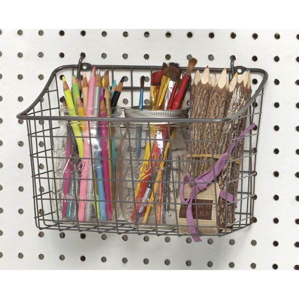 Grey Wire Pegboard Display Basket 10 1 4""