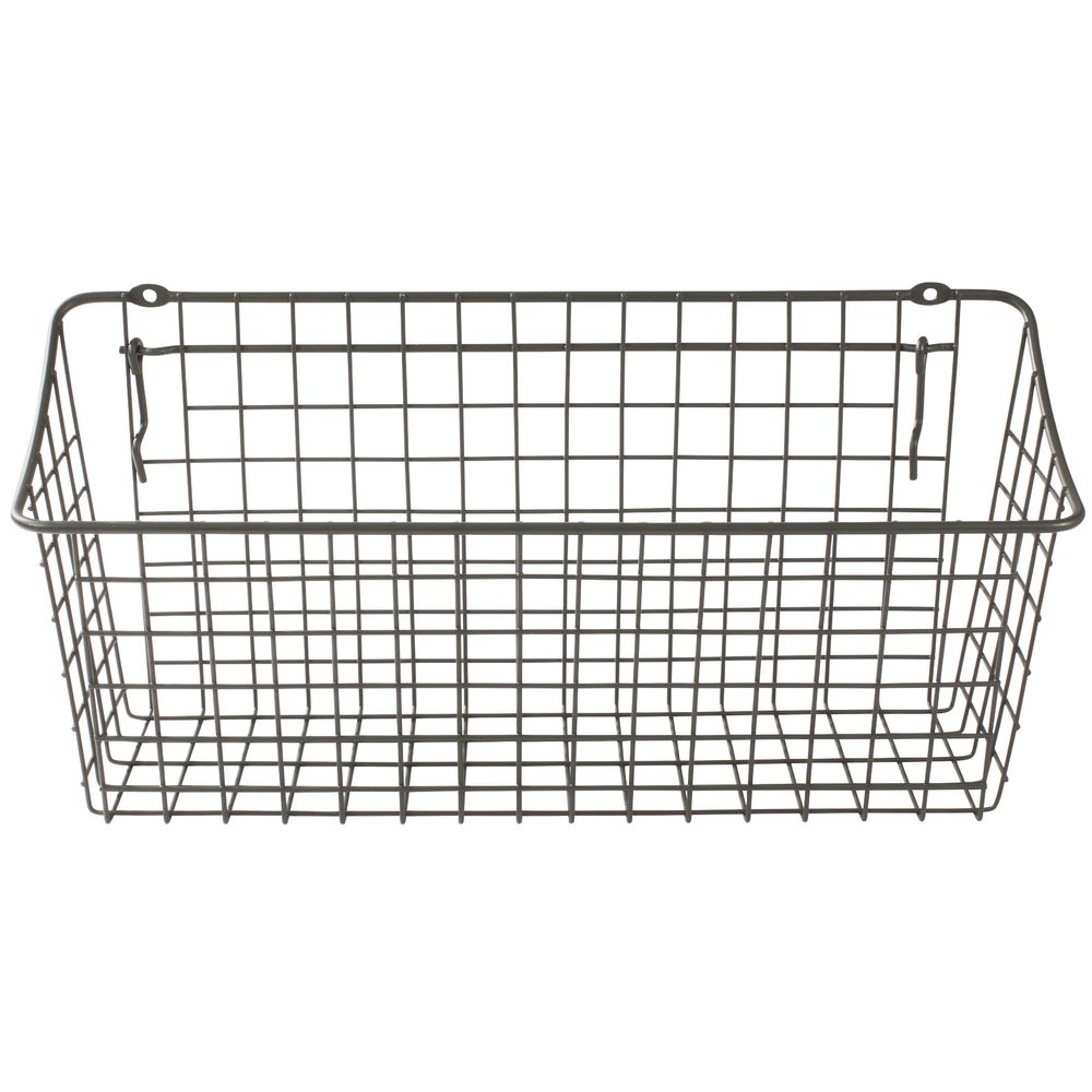 Grey Wire Pegboard Display Basket, 15 1/4